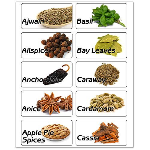 Amazon.com: 60 Spices Rectangle Jar Bottle Illustrated ...