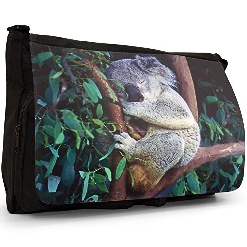 Laptop Fast Asleep Shoulder Canvas Large amp; Black Australian Bag Curled Messenger Up School Koala 8wqOA