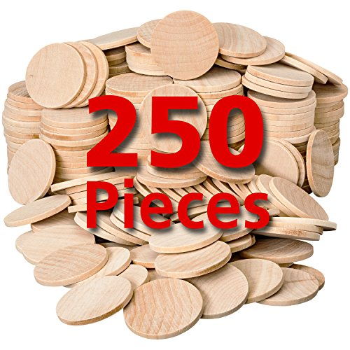 Wooden Token - Round Unfinished Natural Wood Circles for Arts and Crafts 1.5 Inches (250 Pieces) by Dragon Drew