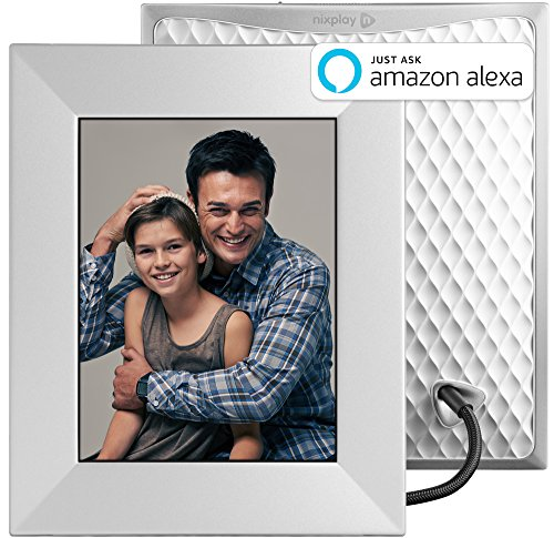 Nixplay W08E- Silver Iris 8″ Wi-Fi Cloud Digital Photo Frame with IPS Display, iPhone & Android App, iOS Video Playback, Free 10GB Online Storage, Alexa Integration and Activity Sensor, Silver