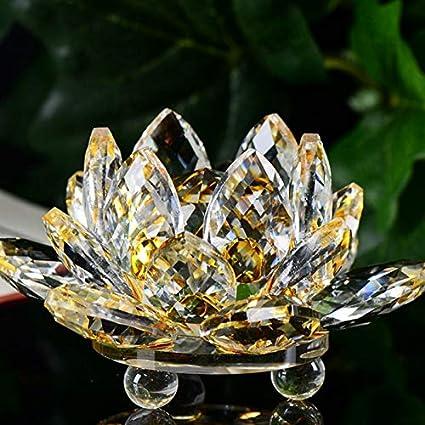 Decoracion de muebles, BaZhaHei, Figura de cristal de loto de Lotus adorno de papel Feng Shui Colección de decoración de Loto de cristal del ...