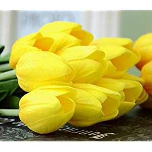 Muyee Artificial Tulips, Single Stem 12 Heads Artificial Real Touch PU Tulips Flowers Arrangement Bouquet Home Room Office Centerpiece Party Wedding Decor 5