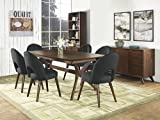 Coastlink Hawaii Walnut Dining Set For 6 - Arc Back Chairs Teal Fabric