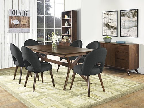 Coastlink Hawaii Walnut Dining Set For 6 - Arc Back Chairs Linen Fabric by Coastlink Furniture