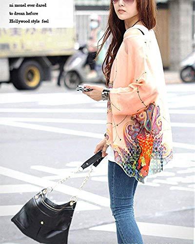 Cm Rose En De Pour Courtes À Tee Xl Femmes Rose Manches Taille waist Soie Imprimés Mousseline Oudan 123 shirts coloré x14FqwS