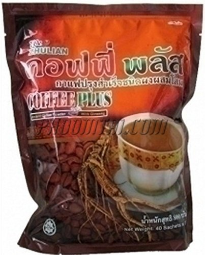 40 Sachets Zhulian Instant Coffee Plus Ginseng Healthty Coffee Form Thailand