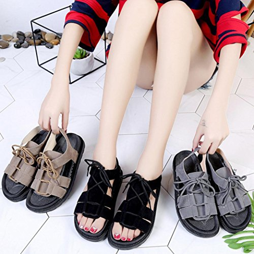 Longra Women's Sandals,Lady Summer Suede Solid Color Peep Toe Cross Tied Flat Sandals Shoes Gray