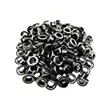 Amanaote 6mm Internal Hole Diameter Gun Black Eyelets Grommets with Washer Self Backing Pack of 150 Sets