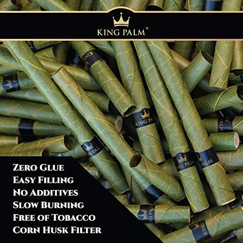 King Palm Slim Size Natural Slow Burning Pre-Rolled Palm Leafs with Filter Tip (20 Pack)