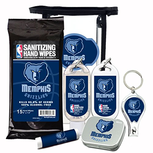 (Memphis Grizzlies 6-Piece Fan Kit with Decorative Mint Tin, Nail Clippers, Hand Sanitizer, SPF 15 Lip Balm, Hand Lotion, Sanitizer Wipes. NBA Gifts for Men and Women By Worthy)
