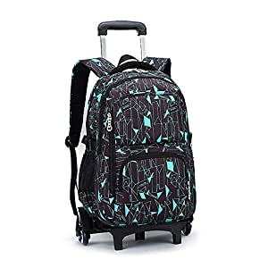 TONGSH Rolling Backpack Multifunction Wheeled Backpack Trolley Rolling Backpack Luggage School Travel Book Students School Bags with Six Wheels Decompression Backpack (Color : B)
