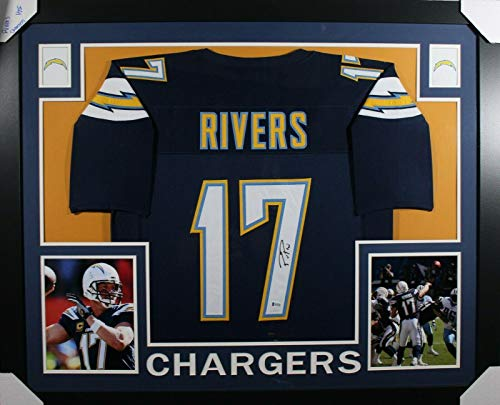 (Signed Philip Rivers Jersey - FRAMED NAVY w BECKETT COA - Beckett Authentication - Autographed NFL Jerseys)