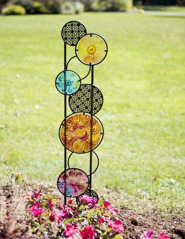 Glass Quilt Garden Panel, Circles (Glass Quilt)