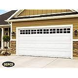 "2 Car Garage Kits - 32 Pcs Household Easy Installation Magnetic Windows Panels for Car Garage Door Panes Fake Faux Magnetic Windows Decorative Hardware - Size 6.125"" X 4"""