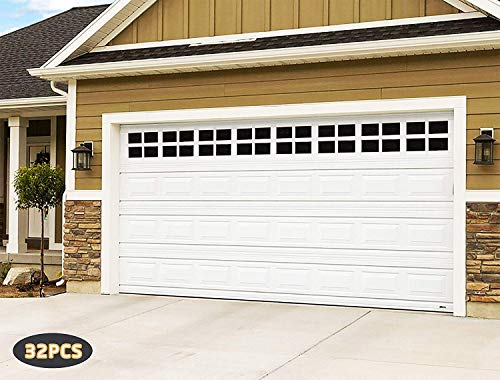 - 2 Car Garage Kits - 32 Pcs Household Easy Installation Magnetic Windows Panels for Car Garage Door Panes Fake Faux Magnetic Windows Decorative Hardware - Size 6.125