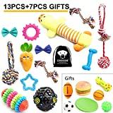 SZKOKUHO 13+7 Pack Puppy Dog Chew Toys Set Puppy Accessories —Puppy Chew Toys,Puppy Plush Toys,Dog Ropes Toy,Dog Bone Toy,Dog Bow Tie,Dog Balls,Puppy Squeaky Toys,Dog Flying Discs,For Small t(20 Pack)