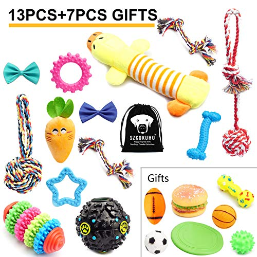 SZKOKUHO 13+7 Pack Puppy Dog Chew Toys Set Puppy Accessories