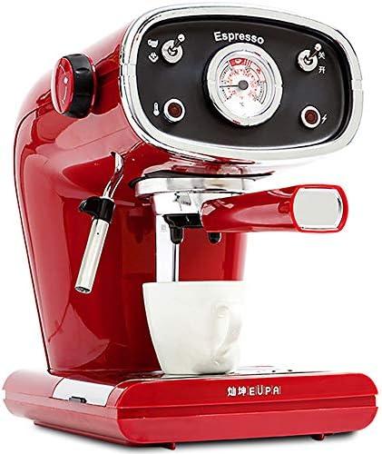 Cafetera roja Vintage Máquina de café de Cappuccino semiautomático con un Solo botón de extracción de Alta presión de 15 Bares con vaporizador de Leche Caffè Brewer: Amazon.es: Hogar