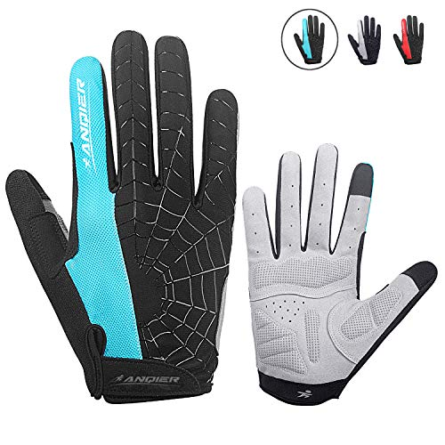 anqier Cycling Gloves Men Women Bike Gloves Mountain Biking Gloves with Anti-Slip Shock-Absorbing Pad Breathable Full Finger Workout Gloves Riding Sports Road Bicycle Gloves