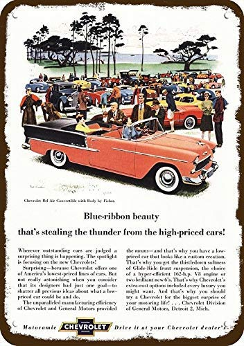 onepicebest 1955 Chevy Bel Air Convertible Car Vintage Look Replica Metal Sign 7