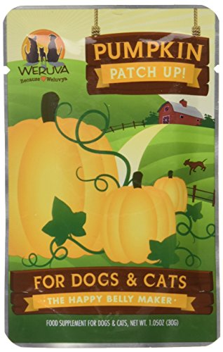 Weruva Because WeLuvYa, Pumpkin Puree Pet Food Supplement for Dogs & Cats, 1.05oz Pouch (Pack of 12)