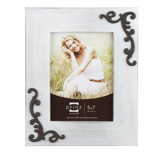 PRINZ Lillie-Scrolls Wood Photo Frame, 5 by 7-Inch, White