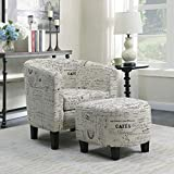 Belleze Accent Tub Chair Curved Back French Print Script Linen Fabric w/Ottoman Modern Stylish Round Armrest, Beige