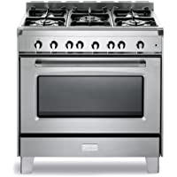 Verona VCLFSGG365SS 36 Classic Gas Range Single Oven Convection Oven 5 Sealed Gas Burners Cast-Iron Grates Stainless Steel