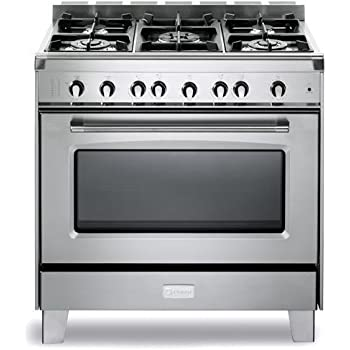 "Verona VCLFSGG365SS 36"" Classic Gas Range with 4 cu. ft. Convection Oven 5 Sealed Gas Burners Cast-Iron Grates EZ Clean Porcelain Oven Surface and Full-Width Storage Compartment in S"