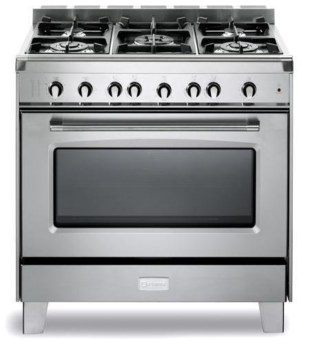 Verona VCLFSGG365SS 36'' Classic Gas Range with 4 cu. ft. Convection Oven 5 Sealed Gas Burners Cast-Iron Grates EZ Clean Porcelain Oven Surface and Full-Width Storage Compartment in S by Verona