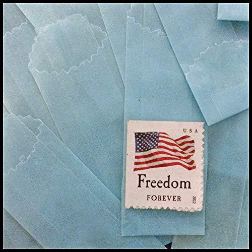 Blue Vellum Wax Paper Envelope Bags, Medium, 25mm/27mm, ()