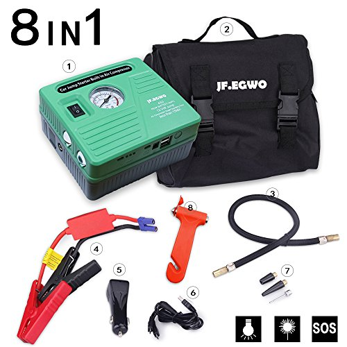 Car Jump Starter with Air Compressor 8 in 1, 450 Peak 120 PSI 13000 mAh Jump Pack, With Double USB Ports and Double LED Flashlight by JF.EGWO, Special Sales for Father's Day Gift