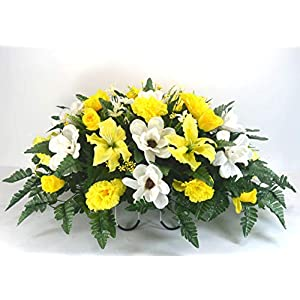 R16 Magnolia and Yellow Tiger Lilies, Rose Buds Cemetery Flower Arrangement, Headstone Saddle, Grave, Tombstone Arrangement, Cemetery Flowers 93