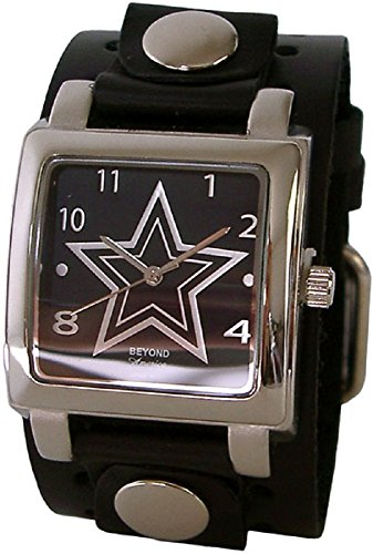 Beyond Square Men's Star Watch - Black Studded Genuine Leather Wide Cuff Band (Watch Cuff Studded)