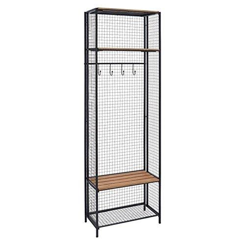 Grid Metal and Wood Locker Coat Rack (Grid Wood)
