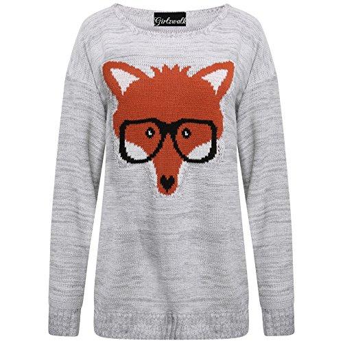 Dames Fox GirlzWalk Femmes Pull Lunettes Tricot Chandail Sgwyp5Uqx