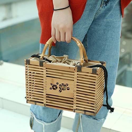 unique des pour tissé voyager sac main et à main couleur Solide en sac femmes bambou Delicacydex évider achats en à carrée mode dehors sac zqUnB