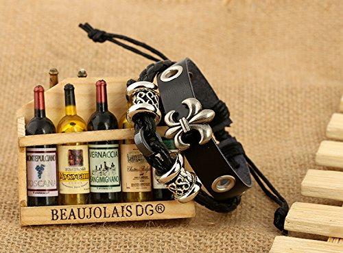 iBegem Bracelet ajustable et unisexe en cuir noir orné de lys et breloques fait main- Cadeau Saint Valentin Anniversaire