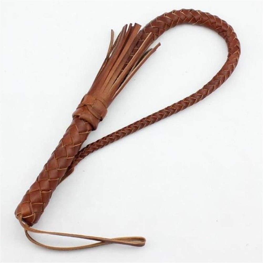 ZANGAO Ecuestre 75cm Cuero de Vaca Fusta for la Carrera de Caballos de Piel Whip Equipo Ecuestre (Color : Brown)