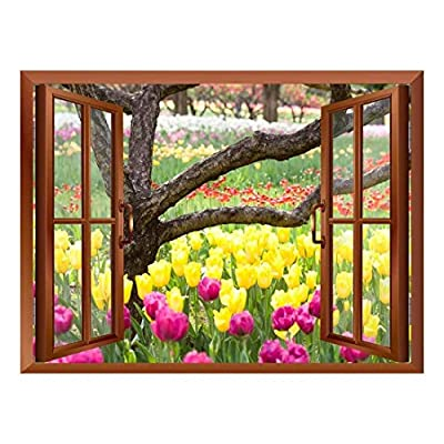 Created Just For You, Alluring Portrait, Bed of Tulips Removable Wall Sticker Wall Mural