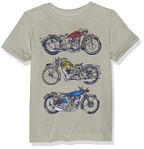 Crazy 8 Boys' Big Short Sleeve Crewneck Graphic Tee, tan Multi Motorcycle, XL