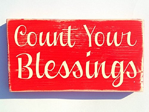 Count Latex - Count Your Blessings 11x6 (Choose Color) Welcome Blessed Rustic Shabby Chic Family Door Sign