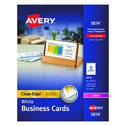 Avery Two-Side Printable Clean Edge Business Cards for Laser Printers, White, Box of 1000 (Clean Edge Cards)