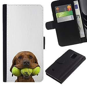 EuroCase - Samsung Galaxy Note 4 SM-N910 - tennis golden retriever pet dog - Cuero PU Delgado caso cubierta Shell Armor Funda Case Cover