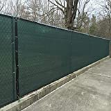 KUD Shade Green 4'x25' Decorative Fence Privacy Screen Fencing Mesh Windscreen Commercial Grade 150 GSM with Heavy Duty Brass Grommets for Outdoor Yard