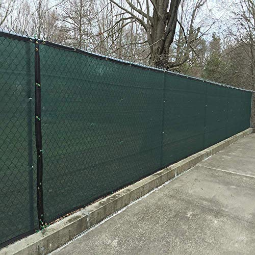 KUD Shade Dark Green 4'x25' Decorative Fence Privacy Screen Mesh Commercial Grade 150 GSM with Heavy Duty Brass Grommets for Outdoor Yard ()
