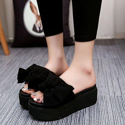 GAOLIM Zapatillas Cool Verano Salvaje Femenino Estudiante Bizcocho Ranurado Grueso Los Zapatos De Tacón Alto Y Las Mujeres Visten Compras NegroB