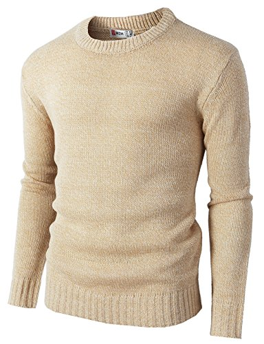 H2H Mens Casual Slim Fit Pullover Lightweight Thin Fabric Sweaters Stripe Patterned Beige US L/Asia XL (KMOSWL0122)