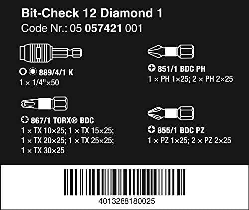 Wera Bit Check 12 Diamond 1 Anti Cam-out BiTorsion Long Life bit set for drill/drivers PZ,PH,TX 12 piece, 05057421001