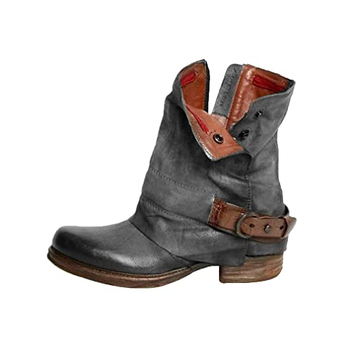 Botines para Mujer Faux Botas Cuero Artificial Retro Botines Hebilla de Cinturón Botas de Martin Cremallera Ocio Botines Botas Planas: Amazon.es: Zapatos y ...
